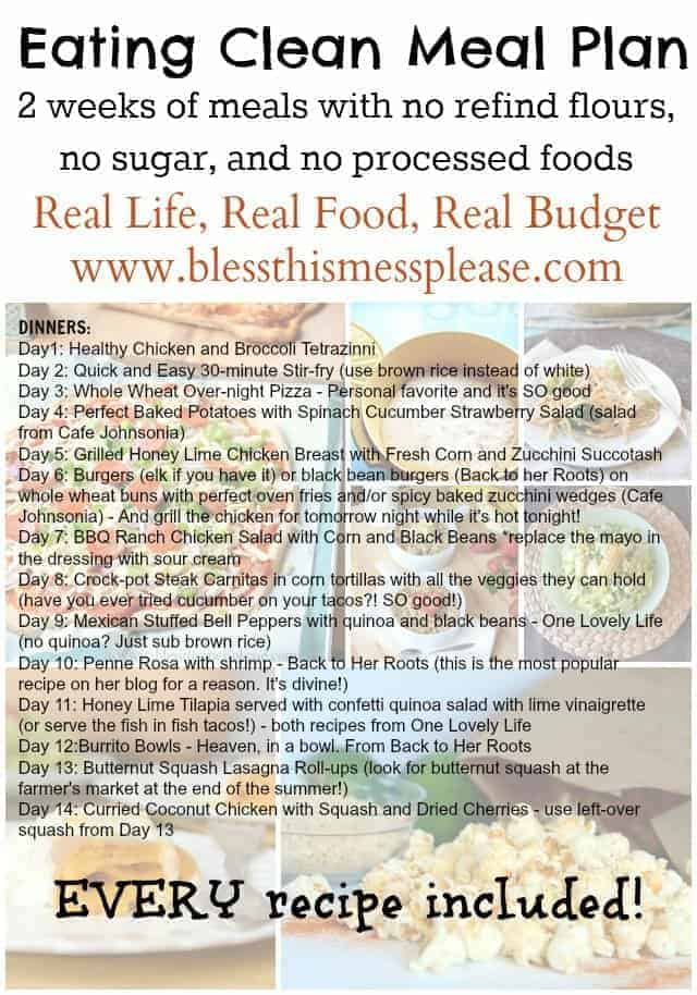 Eating Clean Meal Plan a 14 day guide to real food the whole family will love, no healthy food store needed!