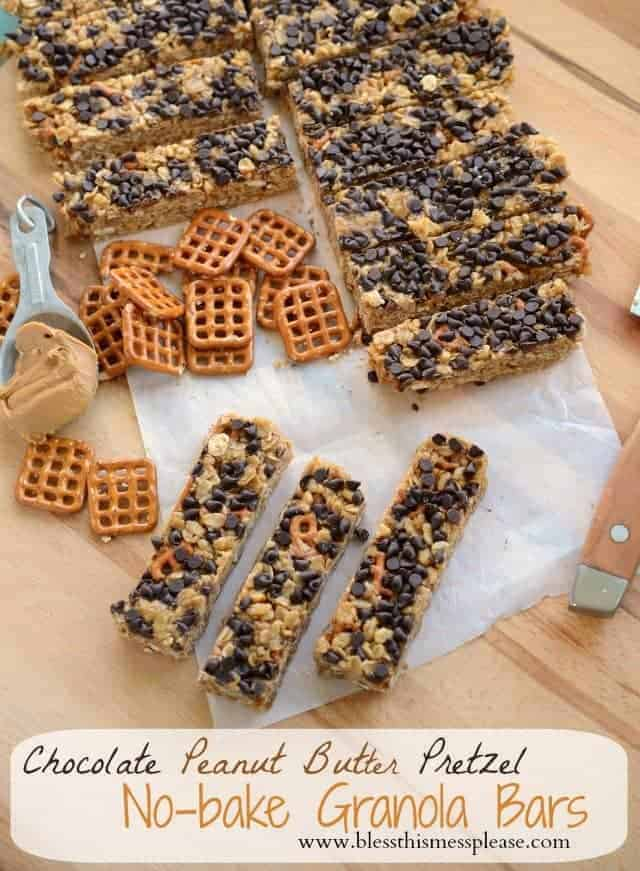 Chocolate Peanut Butter Pretzel Granola Bars - Bless This Mess