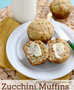 Plate of pineapple zucchini muffins with butter