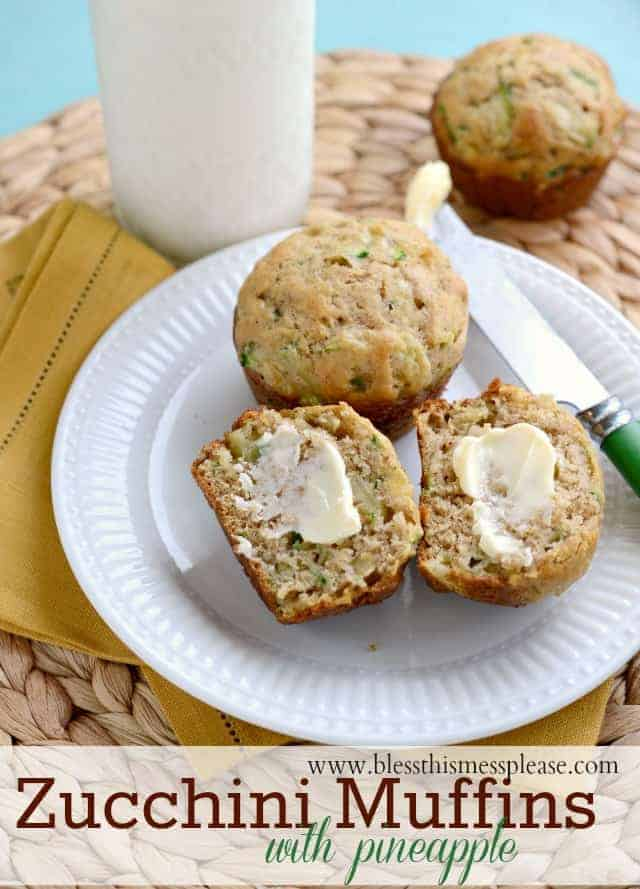 Moist tender Zucchini Pineapple Muffins that can be made with whole ...