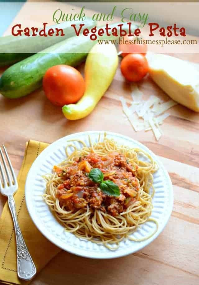 Garden Vegetable Pasta from www.blessthismessplease.com quick and easy ...