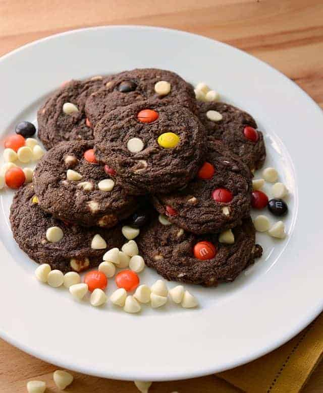 Chocolate White Chocolate Chip Cookies with M&M's