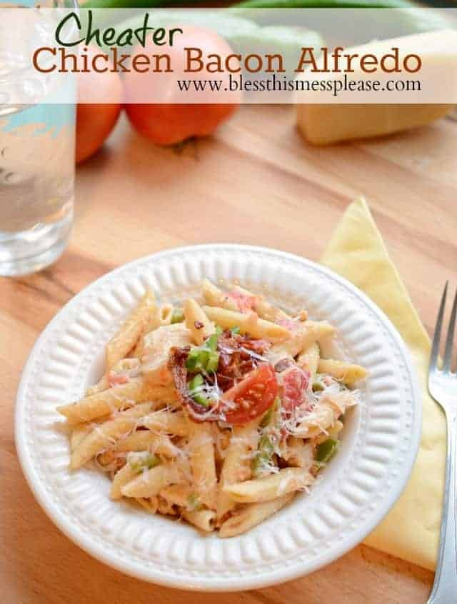 Quick and easy Alfredo Chicken and Bacon Pasta done in 30 minutes or less