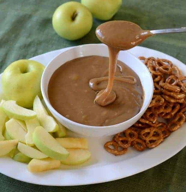perfect caramel dip for apples and pretzels