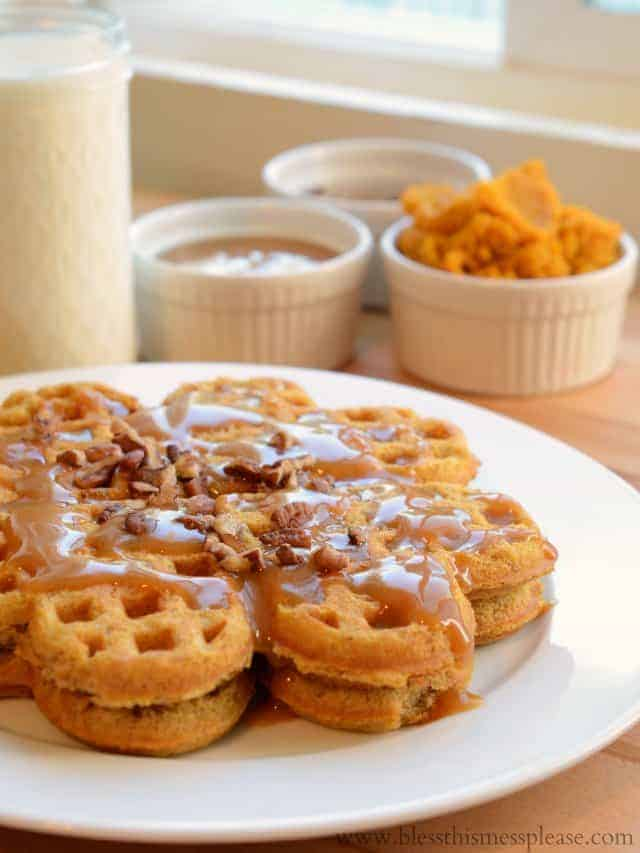 Waffles With Maple Syrup With Caramel Maple Syrup