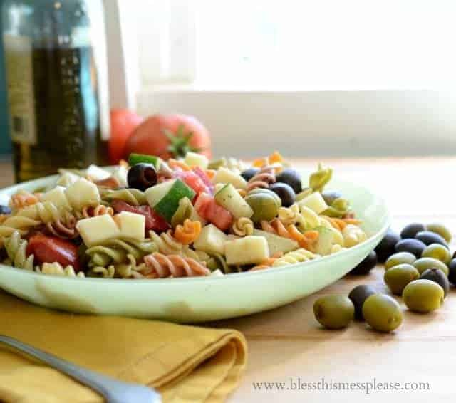 Pasta Salad for a Party in a large dish