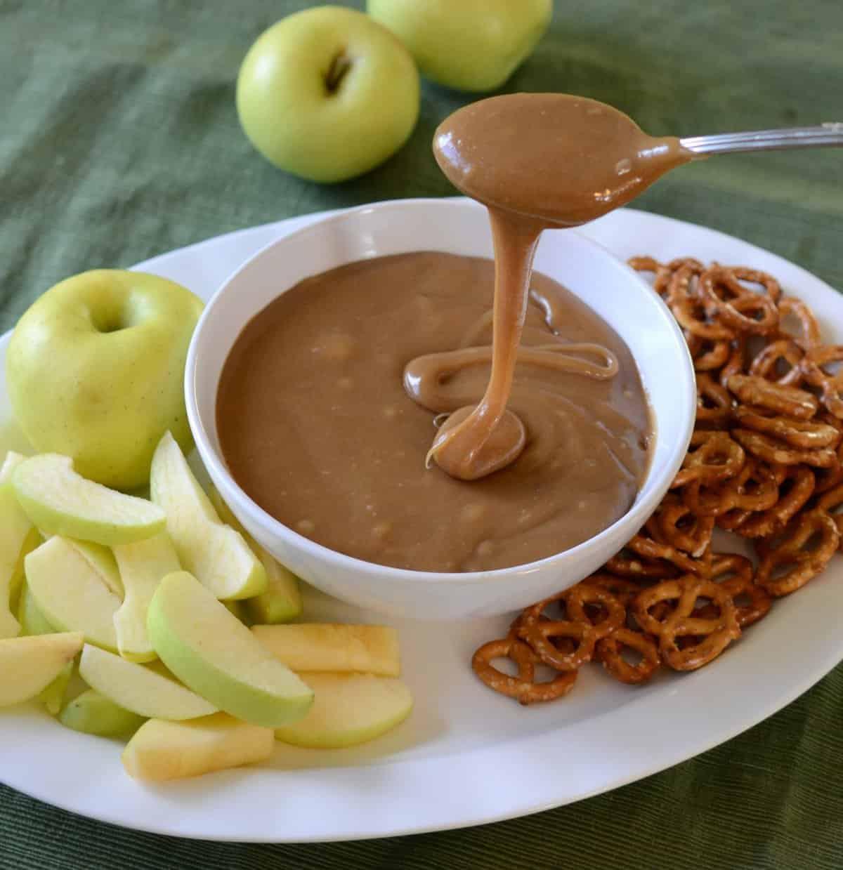 perfect caramel dip for apples and pretzels