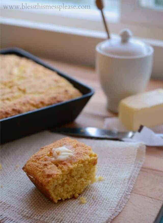 Sweet and Creamy Cornbread the perfect addition to any soup meal!