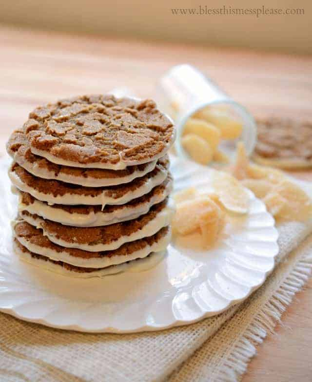 Image of White Chocolate Bottomed Ginger Cookies, Stacked
