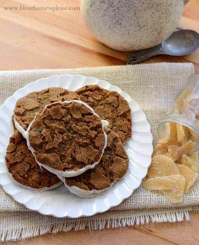 Image of White Chocolate Bottomed Ginger Cookies on a Plate