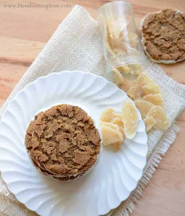 Image of White Chocolate Bottomed Ginger Cookies with Ginger on a Plate