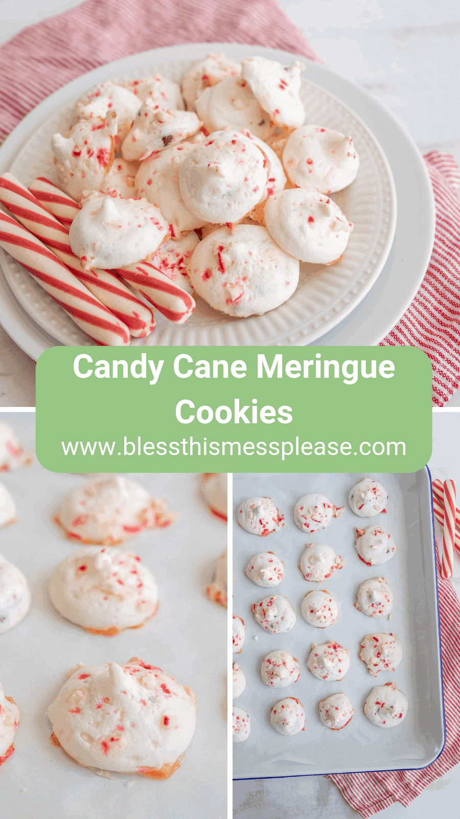 Crunchy and sweet with the perfect balance of chocolate and peppermint, candy cane meringue cookies are the best cookie to make your holiday season more festive and sweet.