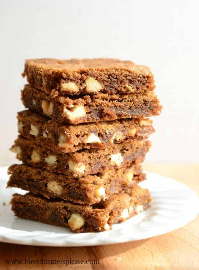 White Chocolate Gingerbread Blondies