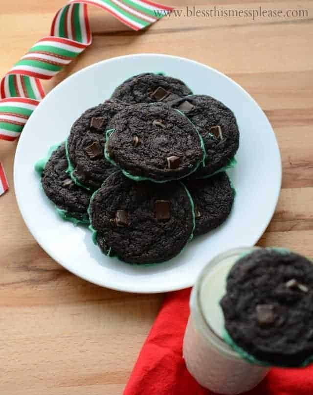 Amazing Mint Dipped Double Chocolate Cookies from www.blessthismessplease.com