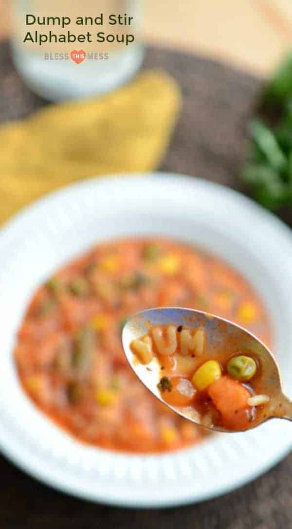 Alphabet soup that is super easy to make, packed with vegetables, kid-approved, and done in 30 minutes or less.