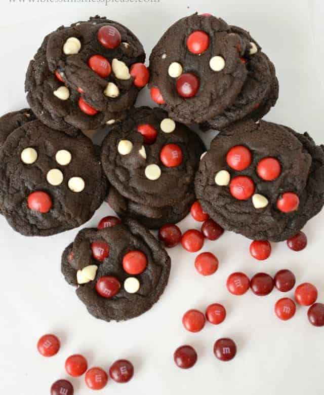 Double Chocolate Cherry Cordial M&M Cookies
