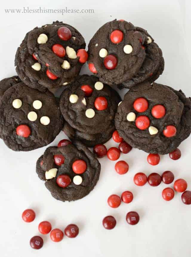 Double Chocolate Cherry Cordial Cookies made with M&Ms.