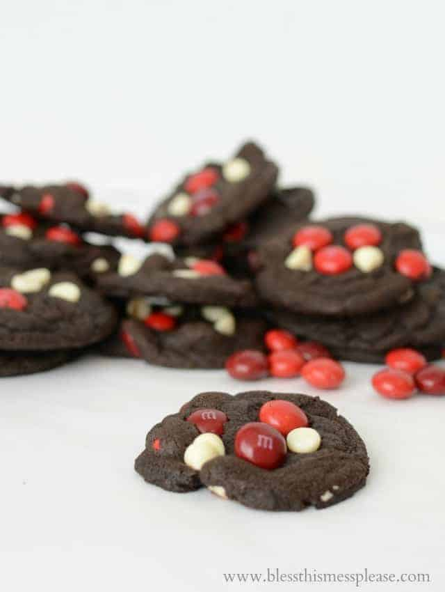 Double Chocolate Cherry Cordial M&M Cookies from www.blessthismessplease.com