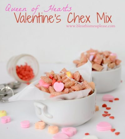 Quick and easy Chex Mix made with conversation hearts, sprinkles and is perfect for Valentine's Day.