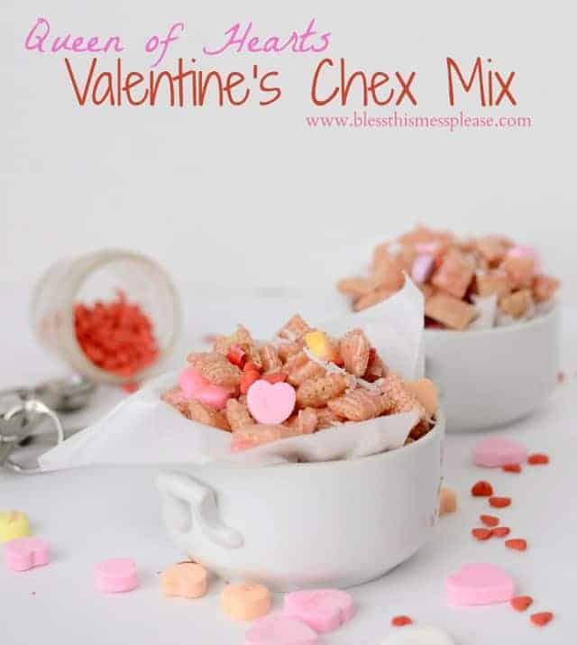 Queen of Hearts Pink Chex Mix from www.blessthismessplease.com