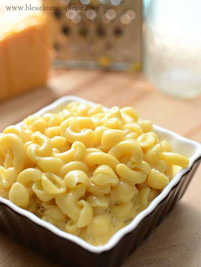 Bowl of no bake macaroni and cheese