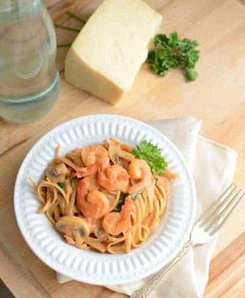 Linguine Rosa with Shrimp is healthy, full of protein, whole grains, veggies, and is done in 30 minutes.