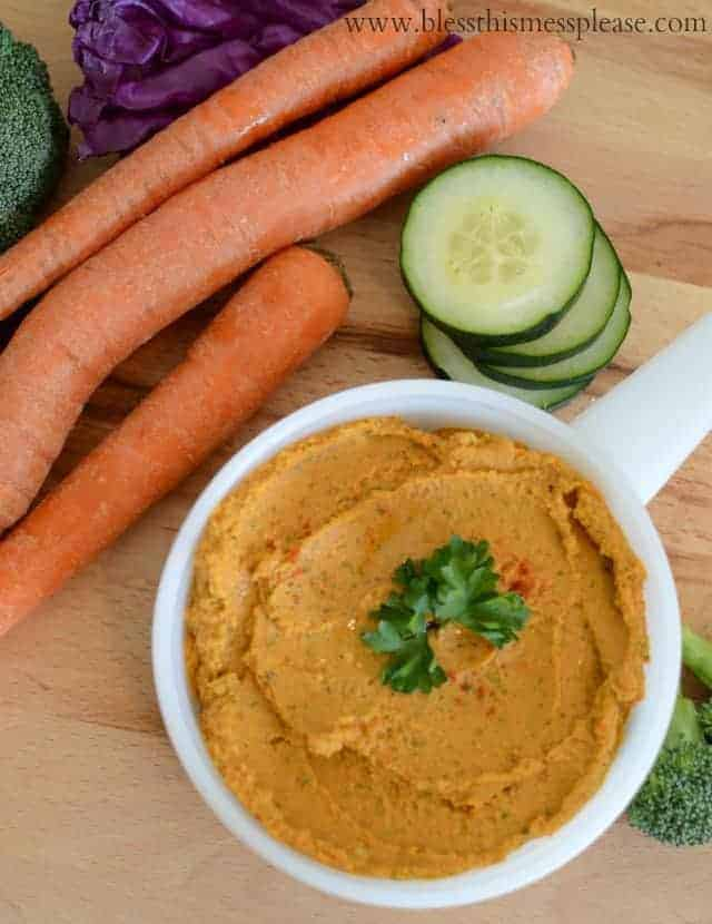Roasted Red Pepper Hummus quick easy and you can't beat homemade!