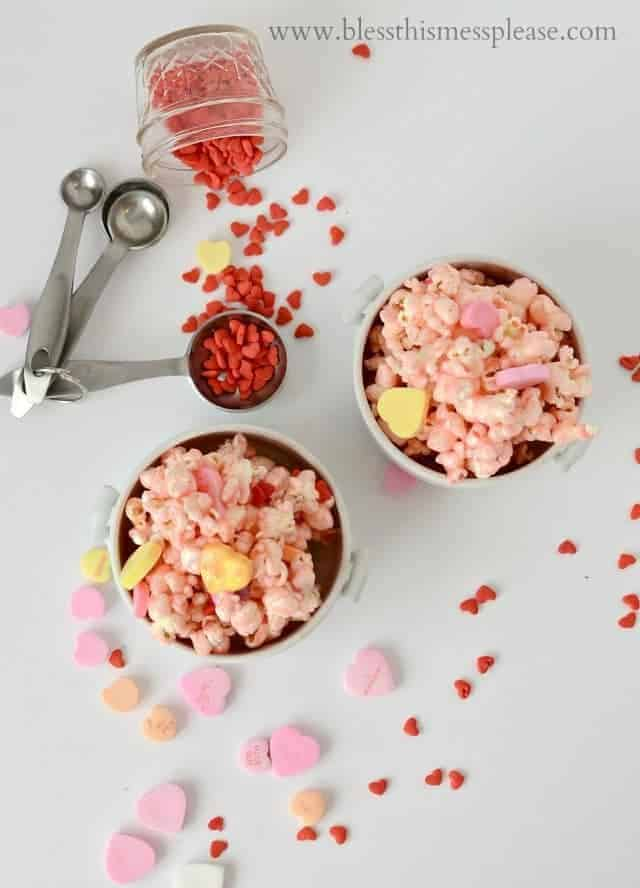 Pretty in Pink Valentine Popcorn Treat from www.blessthismessplease.com