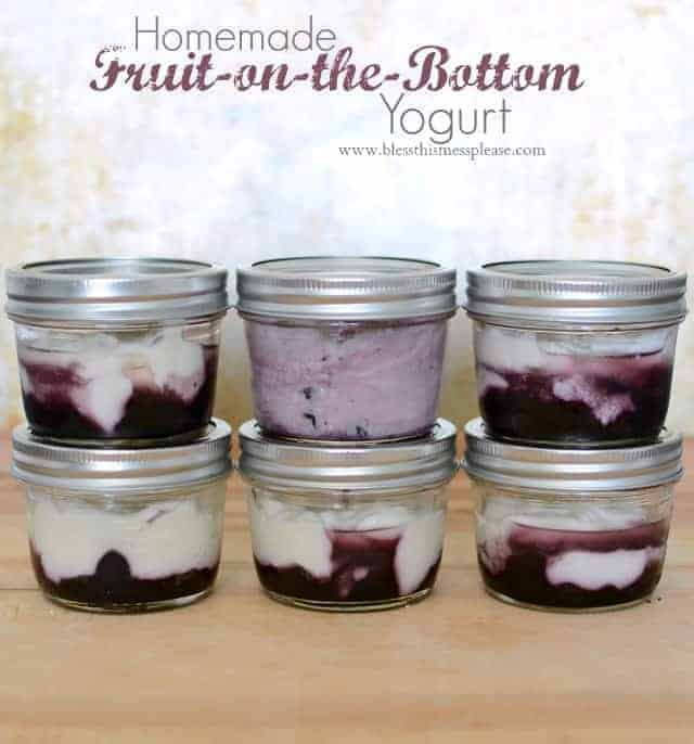 Homemade fruit on the bottom yogurt cups made with blueberries, maple syrup and Greek yogurt.