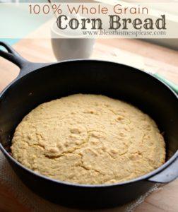 100% Whole Grain Cornbread Recipe | Honey Sweetened Cornbread