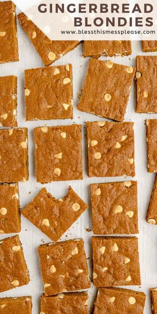 """cut blondies from the top down on white background with the word """"gingerbread blondies"""" in the corner"""