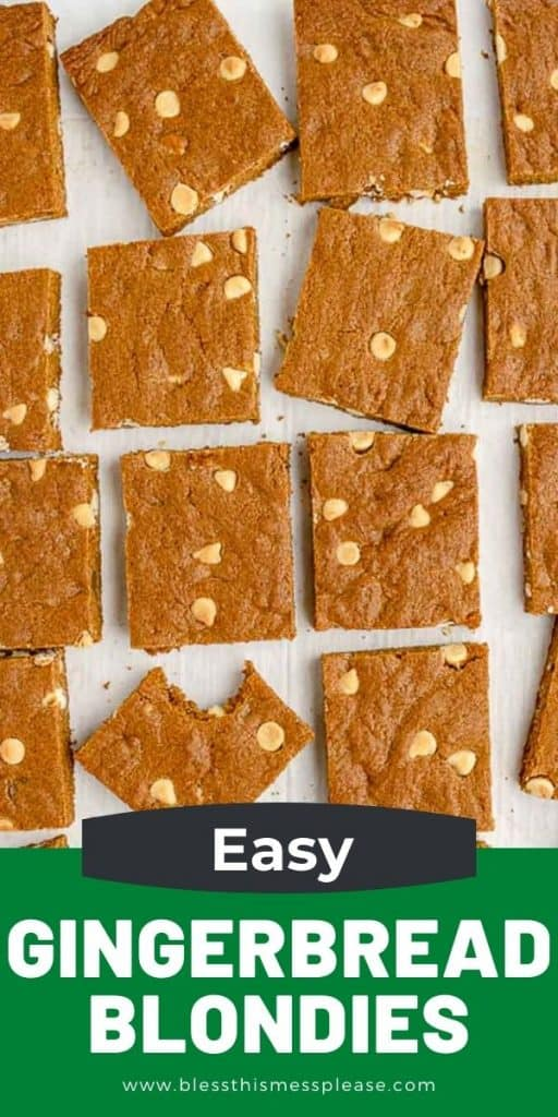 blondies cut form the top on a white background with the words easy Gingerbread Blondies