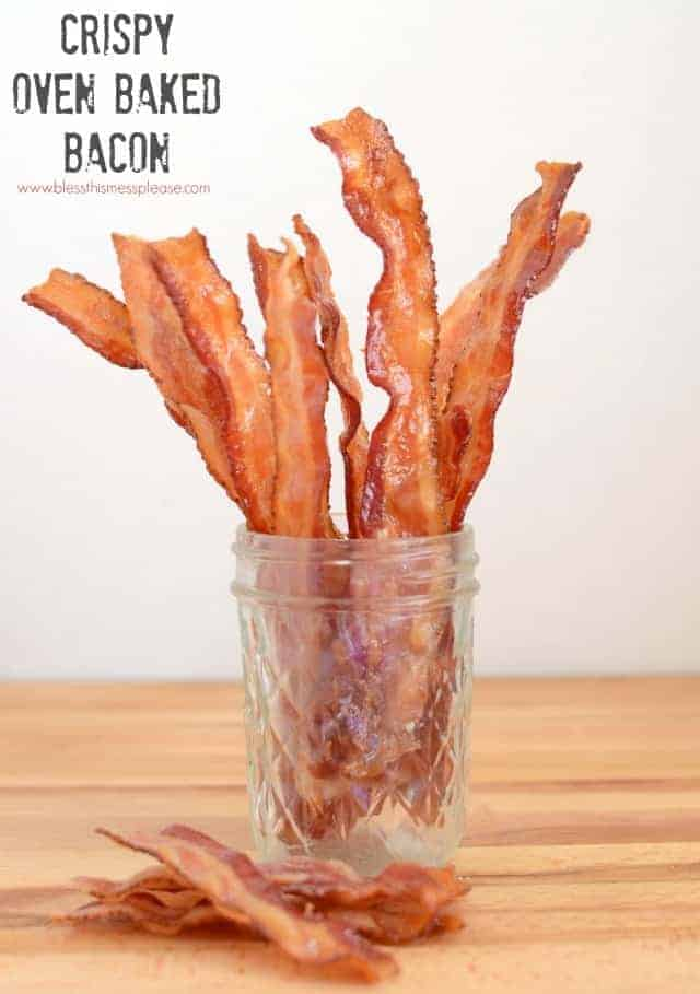 How to oven baked bacon bless this mess how to oven baked bacon super crispy less messy and easy ccuart Images