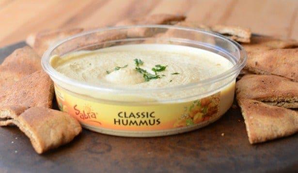 Sabra hummus and homemade pita chips!