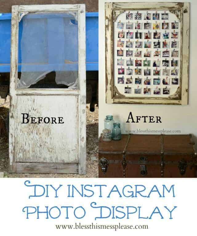 diy instagram photo display made from an old screen door you could also use a