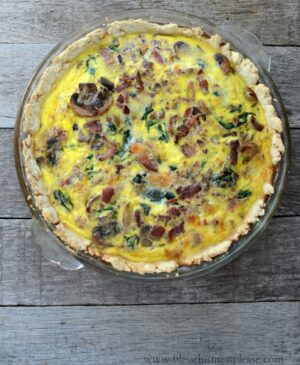 This Spinach Bacon Quiche is full of vegetables, eggs and bacon but lighter in calories. Total win in my book!