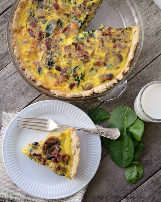 Lightened Up Spinach Bacon Quiche - Bless This Mess