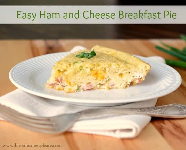 Easy Ham and Cheese Breakfast Pie is kind of a cross between a quiche (very eggy) and a strata (very bready). My family loved it!