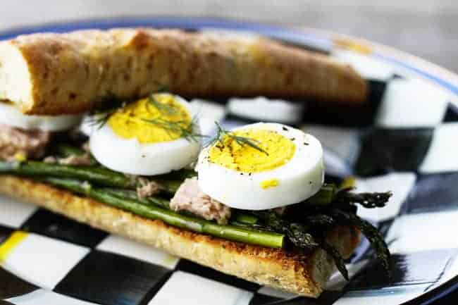 Roasted Asparagus, Tuna and Hardboiled Egg Sandwiches