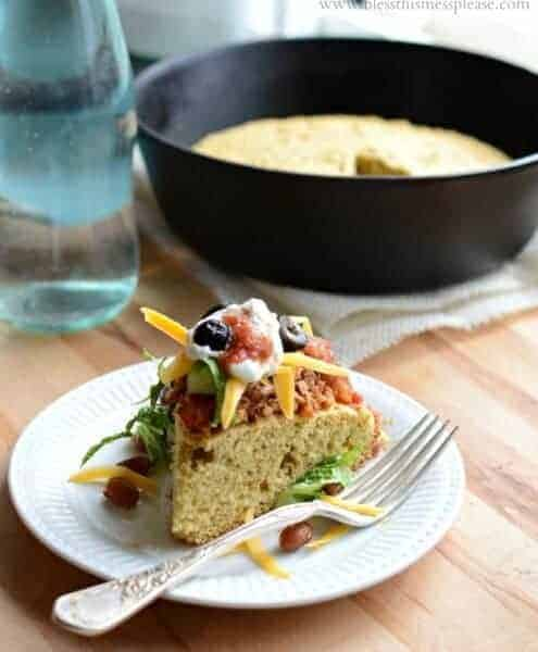Quick, easy, and healthy whole grain tamale pie, made with corn bread and chili.
