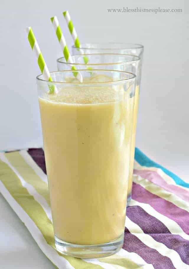 Clean and Healthy Tropical Smoothie dairy free and naturally sweetened
