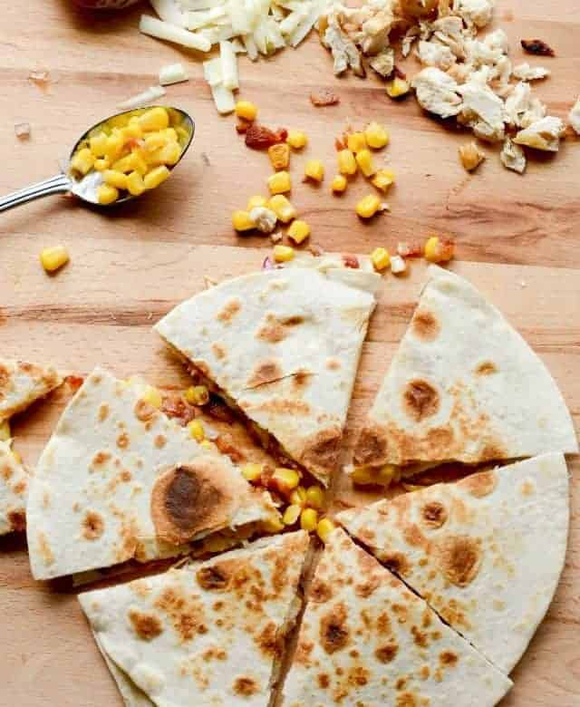 Bacon, Chicken, and Sweet Corn Quesadillas