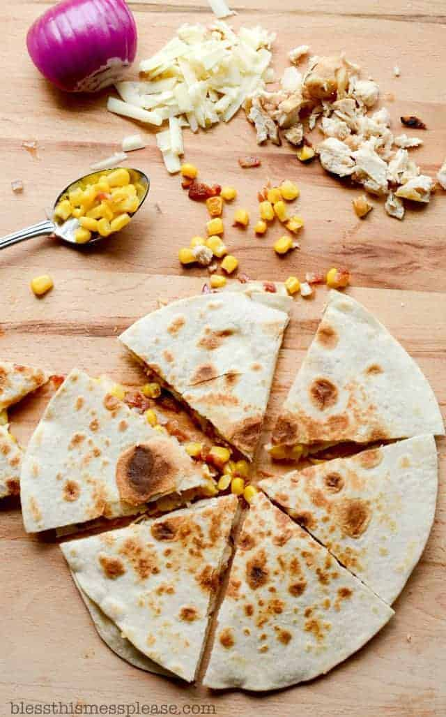 Bacon, Chicken, and Sweet Corn Quesadillas are savory and just a little sweet, which is always a winning combo in my world.