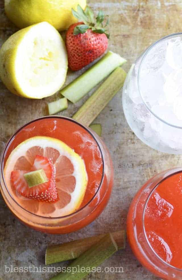 Strawberry Rhubarb Lemonade - summer sipping just got tastier - Bless ...