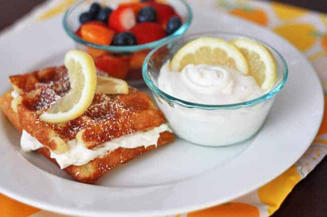 Lemon Buttermilk Waffles with Whipped Lemon Cream Cheese Topping from ...