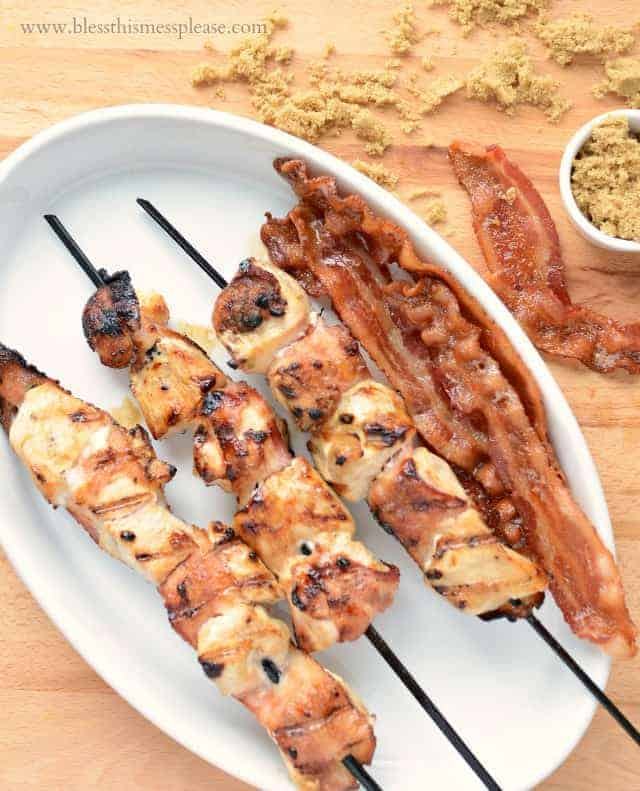 Grilled Brown Sugar Bacon Wrapped Chicken Skewers one of our favorite 30 minute meals. Side of watermelon and some corn on the cob and dinner is done!