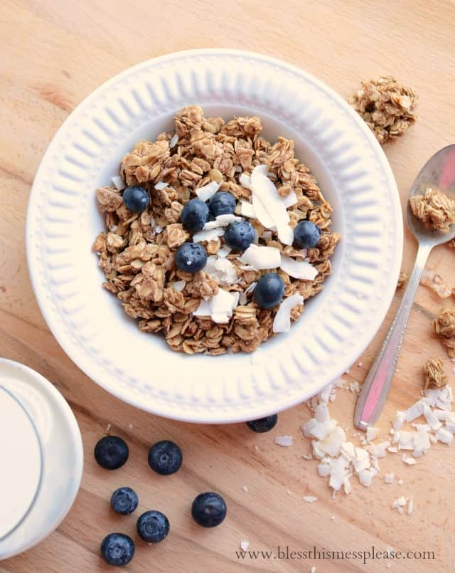 Healthy honey coconut granola recipe made with whole grain oats, honey, coconut oil, coconut flakes and more!