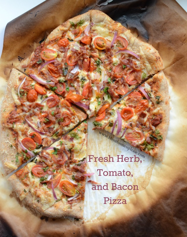 Herbed Tomato Bacon Pizza - pizza night at it's best!