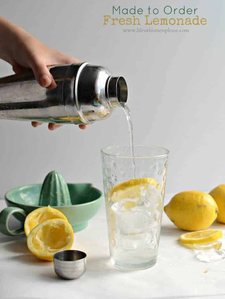 An easy and refreshing lemonade recipe made with the juice of a fresh lemon and simple syrup. Ready in just a couple minutes & perfect for a hot summer day!