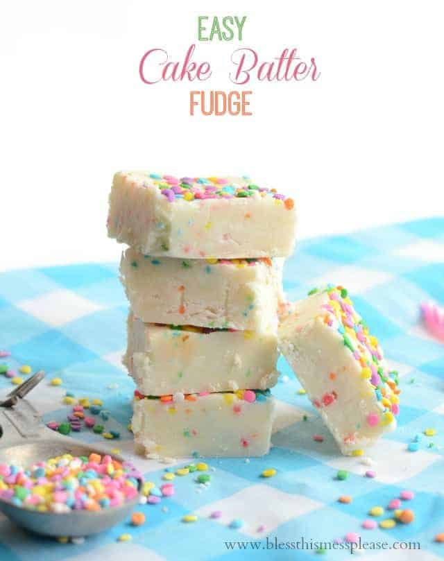 Title Image for Easy Cake Batter Fudge with a stack of white fudge squares with rainbow sprinkles on a blue and white checked cloth